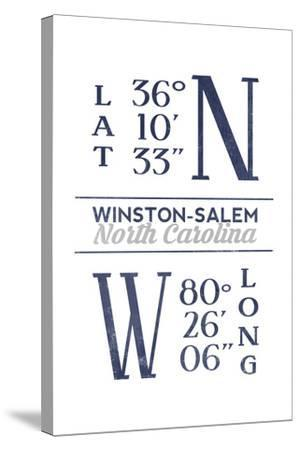 Winston-Salem, North Carolina - Latitude and Longitude (Blue)-Lantern Press-Stretched Canvas Print