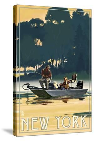 New York - Fishermen in Boat-Lantern Press-Stretched Canvas Print