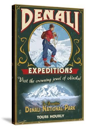 Denali National Park, Alaska - Denali Climbers Vintage Sign-Lantern Press-Stretched Canvas Print