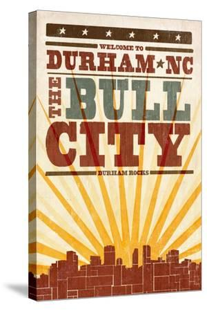 Durham, North Carolina - Skyline and Sunburst Screenprint Style-Lantern Press-Stretched Canvas Print
