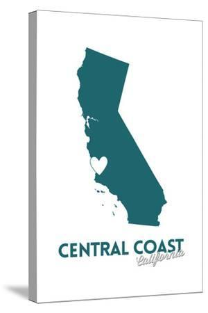 Central Coast, California - State Outline and Heart (Dark Blue)-Lantern Press-Stretched Canvas Print