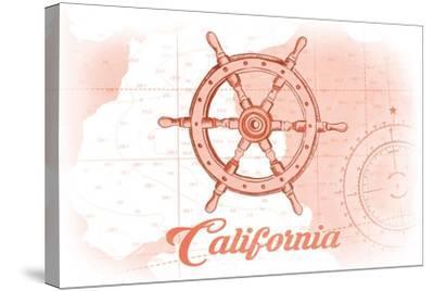 California - Ship Wheel - Coral - Coastal Icon-Lantern Press-Stretched Canvas Print