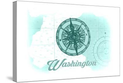 Washington - Compass - Teal - Coastal Icon-Lantern Press-Stretched Canvas Print