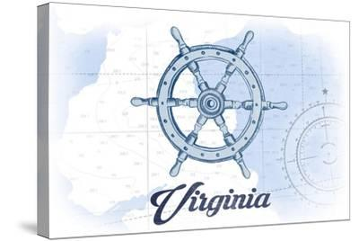 Virginia - Ship Wheel - Blue - Coastal Icon-Lantern Press-Stretched Canvas Print