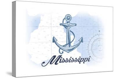 Mississippi - Anchor - Blue - Coastal Icon-Lantern Press-Stretched Canvas Print