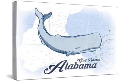 Gulf Shores, Alabama - Whale - Blue - Coastal Icon-Lantern Press-Stretched Canvas Print