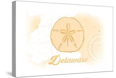 Delaware - Sand Dollar - Yellow - Coastal Icon-Lantern Press-Stretched Canvas Print