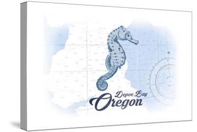 Depoe Bay, Oregon - Seahorse - Blue - Coastal Icon-Lantern Press-Stretched Canvas Print