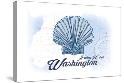Friday Harbor, Washington - Scallop Shell - Blue - Coastal Icon-Lantern Press-Stretched Canvas Print