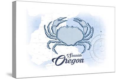 Seaside, Oregon - Crab - Blue - Coastal Icon-Lantern Press-Stretched Canvas Print
