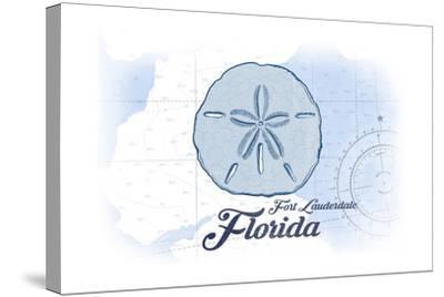Fort Lauderdale, Florida - Sand Dollar - Blue - Coastal Icon-Lantern Press-Stretched Canvas Print