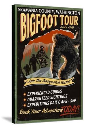 Skamania County, Washington - Bigfoot Tours - Vintage Sign-Lantern Press-Stretched Canvas Print