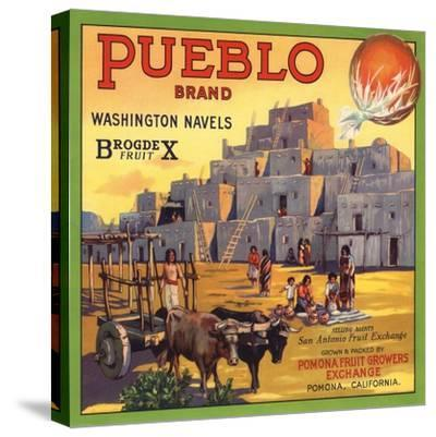 Pueblo Brand - Upland, California - Citrus Crate Label-Lantern Press-Stretched Canvas Print
