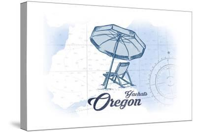 Yachats, Oregon - Beach Chair and Umbrella - Blue - Coastal Icon-Lantern Press-Stretched Canvas Print