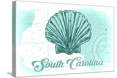 South Carolina - Scallop Shell - Teal - Coastal Icon-Lantern Press-Stretched Canvas Print
