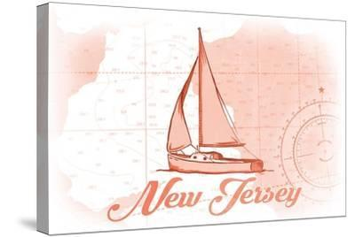 New Jersey - Sailboat - Coral - Coastal Icon-Lantern Press-Stretched Canvas Print