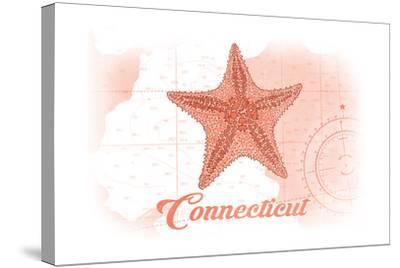Connecticut - Starfish - Coral - Coastal Icon-Lantern Press-Stretched Canvas Print