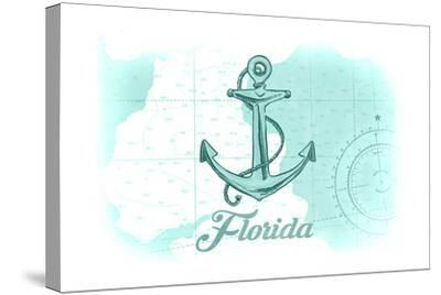 Florida - Anchor - Teal - Coastal Icon-Lantern Press-Stretched Canvas Print