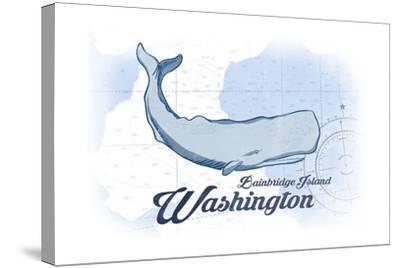 Bainbridge Island, Washington - Whale - Blue - Coastal Icon-Lantern Press-Stretched Canvas Print