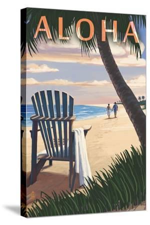 Adirondack Chairs and Sunset - Aloha-Lantern Press-Stretched Canvas Print