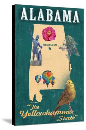Birmingham, Alabama - State Icons-Lantern Press-Stretched Canvas Print