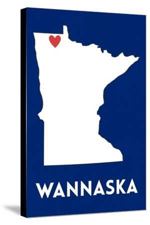 Wannaska, Minnesota - Home State - White on Blue-Lantern Press-Stretched Canvas Print