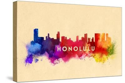 Honolulu, Hawaii - Skyline Abstract-Lantern Press-Stretched Canvas Print