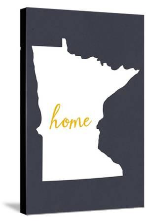 Minnesota - Home State - White on Gray-Lantern Press-Stretched Canvas Print