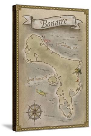 Bonaire, Dutch Caribbean - Treasure Map-Lantern Press-Stretched Canvas Print