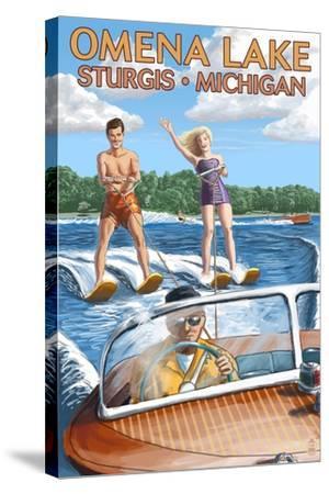 Omena Lake - Sturgis, Michigan - Water Skiing and Wooden Boat-Lantern Press-Stretched Canvas Print