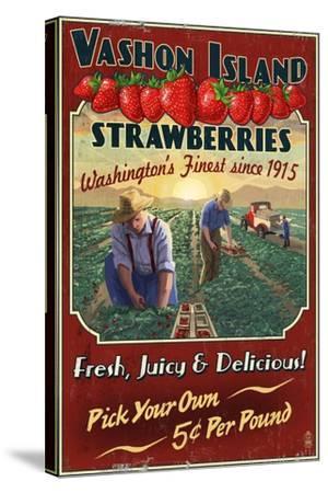 Vashon Island, WA - Strawberry Farm - Vintage Sign-Lantern Press-Stretched Canvas Print