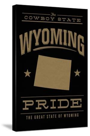 Wyoming State Pride - Gold on Black-Lantern Press-Stretched Canvas Print