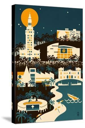 Miami, Florida - Retro Skyline (no text)-Lantern Press-Stretched Canvas Print
