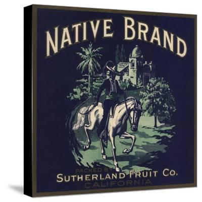 Native Brand - California - Citrus Crate Label-Lantern Press-Stretched Canvas Print