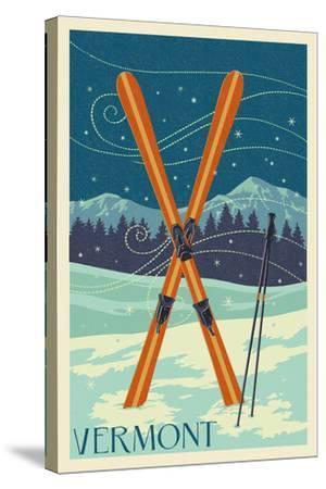 Vermont - Crossed Skis - Letterpress-Lantern Press-Stretched Canvas Print