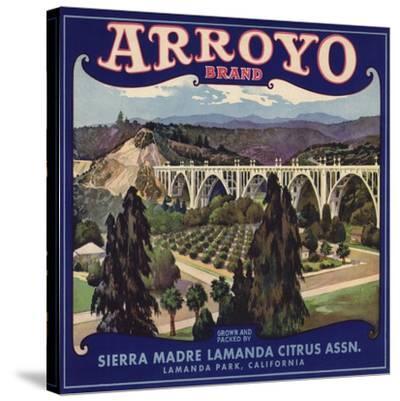 Arroyo Brand - Lamanda Park, California - Citrus Crate Label-Lantern Press-Stretched Canvas Print