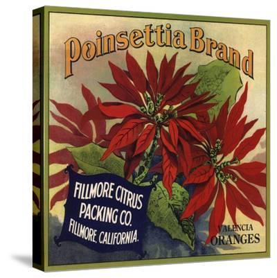 Poinsettia Brand - Fillmore, California - Citrus Crate Label-Lantern Press-Stretched Canvas Print