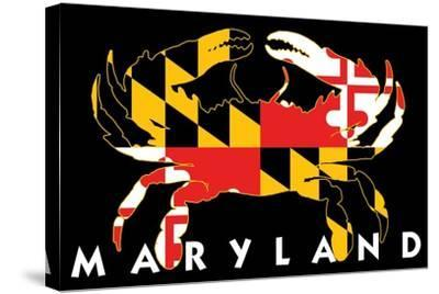 Maryland - Crab Flag (Black with White Text)-Lantern Press-Stretched Canvas Print