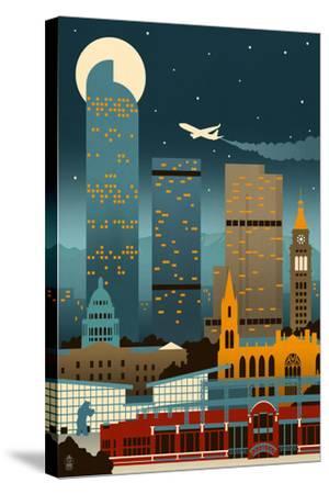 Denver, Colorado - Retro Skyline (no text)-Lantern Press-Stretched Canvas Print