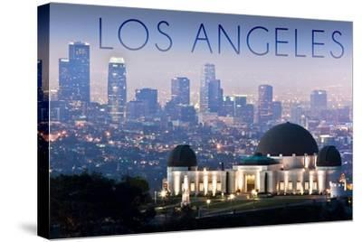 Los Angeles, California - Griffith Observatory and Skyline-Lantern Press-Stretched Canvas Print