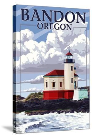 Bandon, Oregon - Coquille River Lighthouse (Version 2)-Lantern Press-Stretched Canvas Print