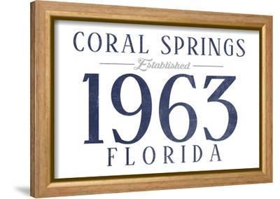 Coral Springs, Florida - Established Date (Blue)-Lantern Press-Framed Stretched Canvas Print