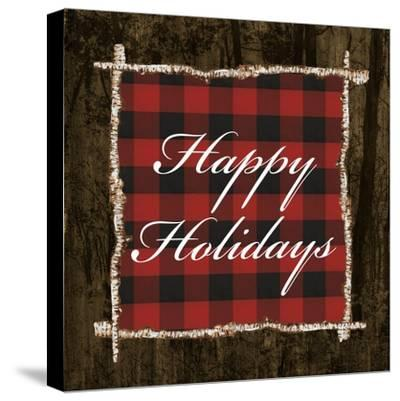 Happy Holidays on Plaid-Gina Ritter-Stretched Canvas Print