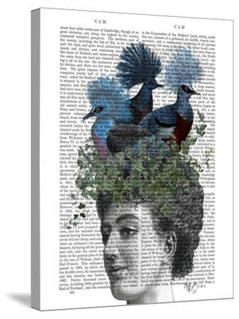 Woman with Blue Birds On Head-Fab Funky-Stretched Canvas Print