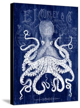 Octopus Prohibition Octopus On Blue-Fab Funky-Stretched Canvas Print