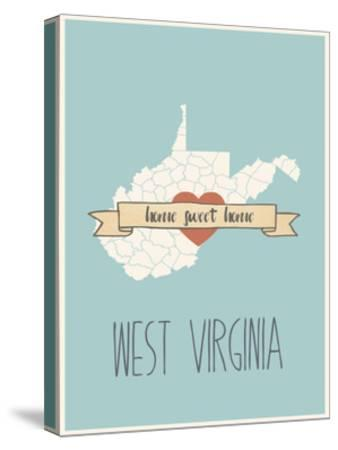 West-Virginia State Map, Home Sweet Home-Lila Fe-Stretched Canvas Print