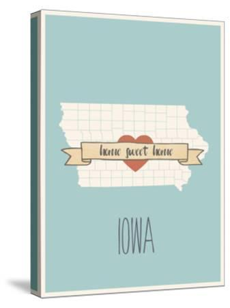 Iowa State Map, Home Sweet Home-Lila Fe-Stretched Canvas Print