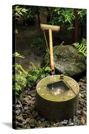 A Stone Water Basin in the Grounds of Ryoan-Ji Temple, Kyoto, Japan-Paul Dymond-Stretched Canvas Print