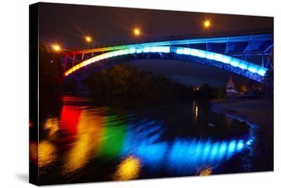 Historic Victoria Bridge at Night, Waikato River, Hamilton, Waikato, North Island, New Zealand-David Wall-Stretched Canvas Print