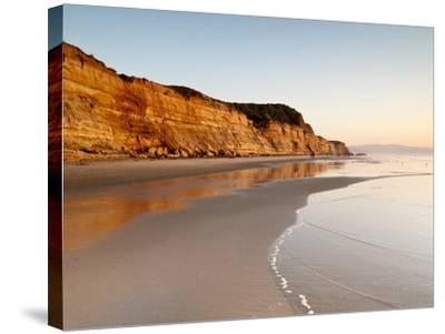 USA, California, La Jolla. Low Tide Cliff Reflections at Torrey Pines State Beach-Ann Collins-Stretched Canvas Print